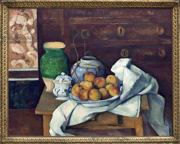 Still life has the dresser. Painting by Paul Cezanne (1839-1906), oil on canvas around 1885. French art, 19th century, post-impressionism. Neue Pinakothek, Munich (Germany).