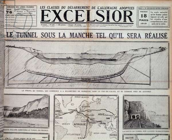 "The Channel Tunnel as it will be realized - in """" Excelsior"""" 18/3/1919"