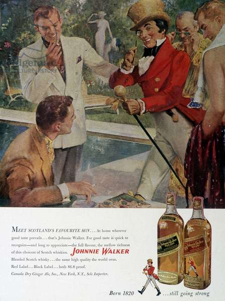 """Advertising for Scotch Whisky """"Johnnie Walker""""."""