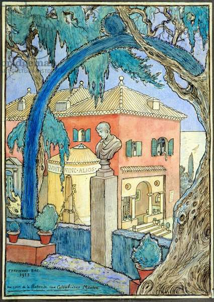 A Corner of the Rotunda in Colombières, Menton - Watercolour by Ferdinand Bac (1859-1952), 1923