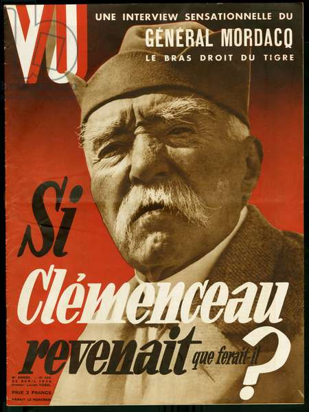 """If Clemenceau came back, what would he do? - Portrait of Georges Clemenceau (1841-1929), politician and journalist, nicknamed """"the tiger"""". Photograph for the cover of the weekly VU, director Lucien Vogel (1886-1954), number 423, date 22/4/1936. Selva Collection."""