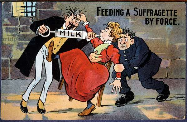 Strength-fed English suffragette - cartoon postcard, 1910