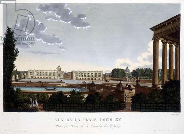 View of Place Louis XV - Paris by Courvoisier, 1827