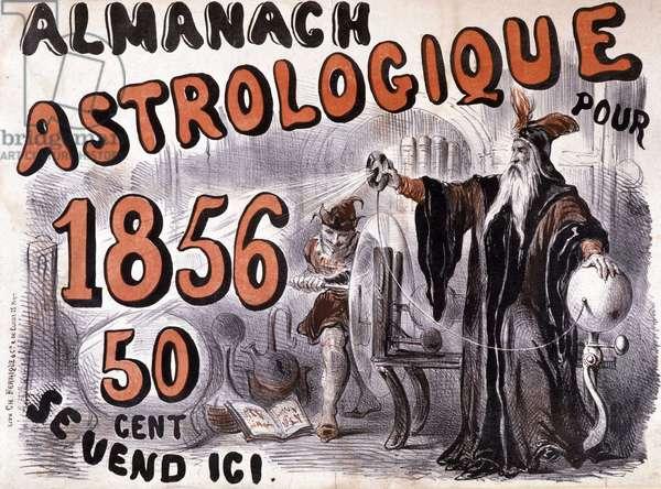 """Nostradamus, astrologer illuminating the future - in """"Almanach Astrologique"""""""" of 1856"""
