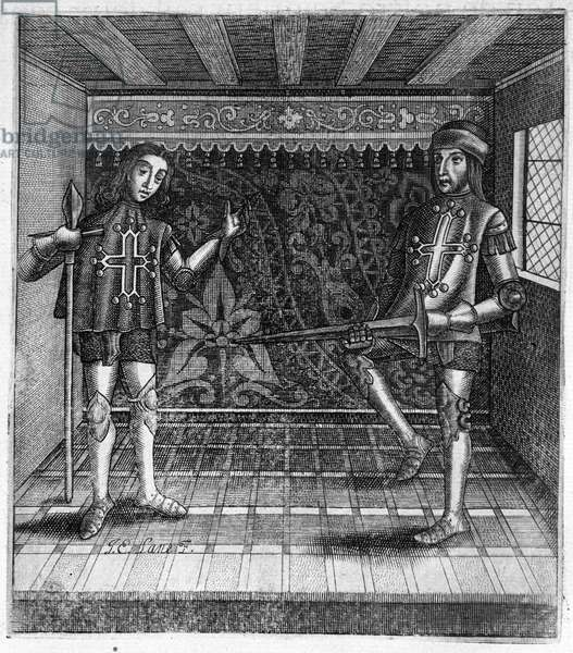 """The Counts of Toulouse, Raymond VI (right 1194 - 1222) and Raymond VII (left 1222 - 1249) in """"Histoire des Countes de Toulouse"""" by Guillaume de Catel, Toulouse, 1623"""