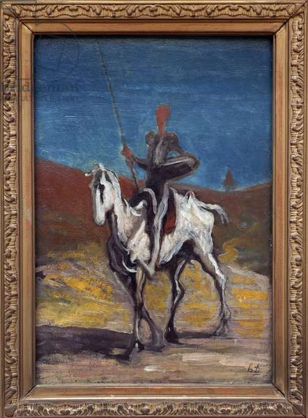 Don Quixote. Painting by Honore Daumier (1808-1879), oil on canvas, circa 1868. French Art, 19th century. Neue Pinakothek, Munich (Germany).