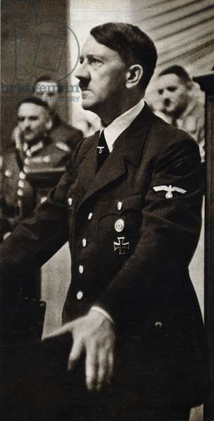 """Portrait of Adolf Hitler (1889-1945), also called Fuhrer, a German politician who established the dictatorship of the Third Reich, carried by the Nazi party and by a nationalist aggression policy, he was at the origin of the Second World War and the main instigator of the final solution - Photography in """""""" die Woche"""""""" 27/01/1942 - Selva Collection"""
