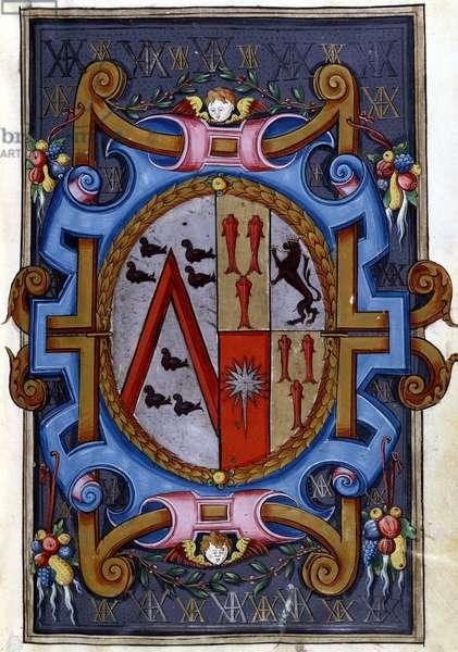 """Coat of arms, """"La mort de Rodomont et sa descent aux hell"""", 16th. Miniature. Arsenal."""