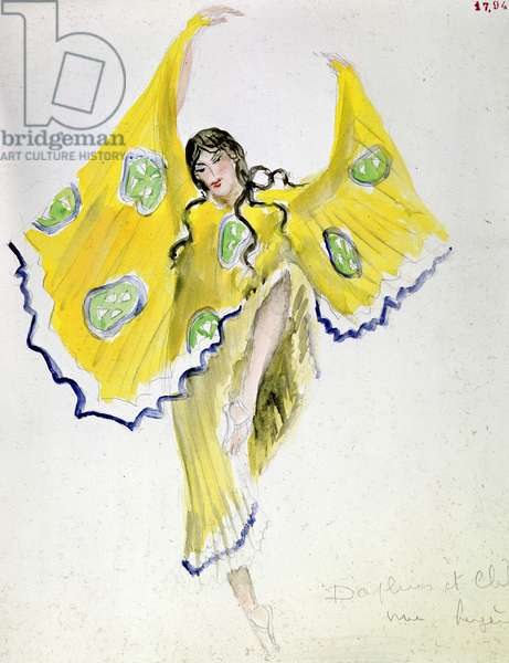 """A shepherdess by Bakst: costume of """""""" Daphnis and Chloé"""""""" by Michel Fokine, 1912."""