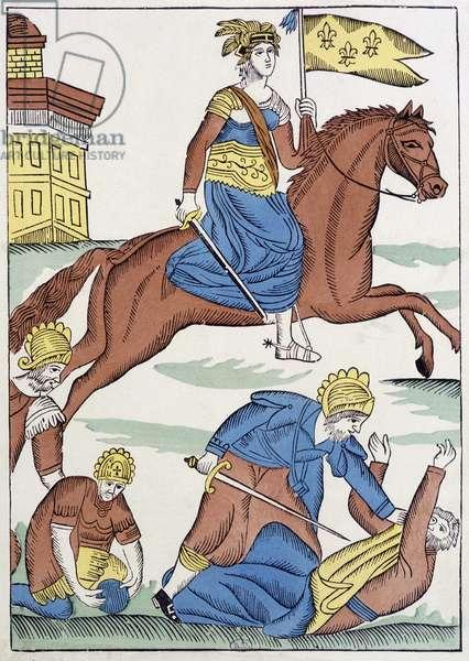 Joan of Arc on horseback with royal flag, France, 16th century.