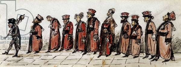 Doctors parade, drawing by Charcot.