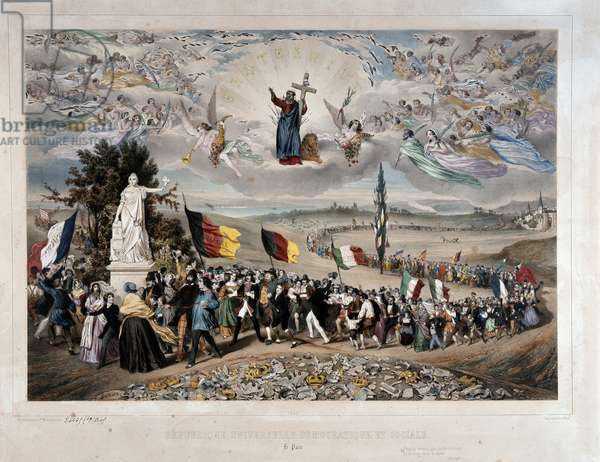 The Universal Democratic and Social Republic Procession of the European Peoples in Union and Fraternity. Lithograph by Frederic Sorrieu (1807-vers 1861) 1848 Paris, musee Carnavalet - Universal Democratic and Social Republic, 1848 (litho), Sorrieu, Frederic (1807-c.1861)
