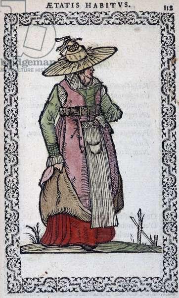 "Piedmont Woman - in """" Habits et effigies"""" by Jean Sulperius, 1572"