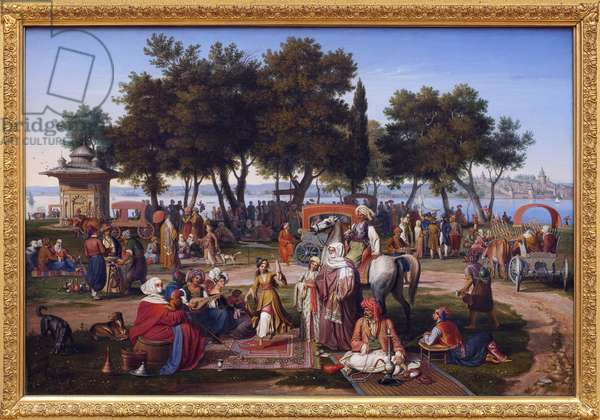 Freshwater of Asia a Constantinople (present-day Istanbul, Turkey). Painting by Johann Michael Wittmer (1802-1880), oil on canvas, 1837. German Art, 19th century. Neue Pinakothek, Munich (Germany).