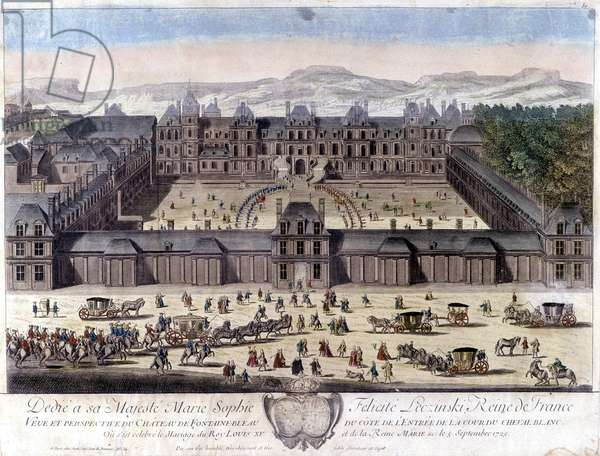 The castle of Fontainebleau on the occasion of the wedding of Louis XV and Marie Leszczynska, September 5, 1725 - engraving, 18th century, by Jan Lamsvelt (1684-1743)