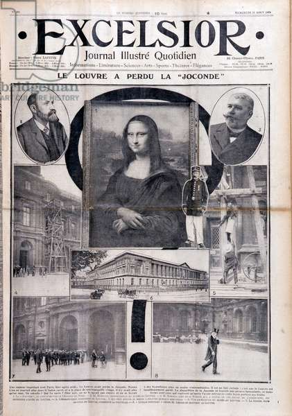 """The Louvre has lost the Mona Lisa"", front page of 'Excelsior', 23rd August 1911 (litho)"
