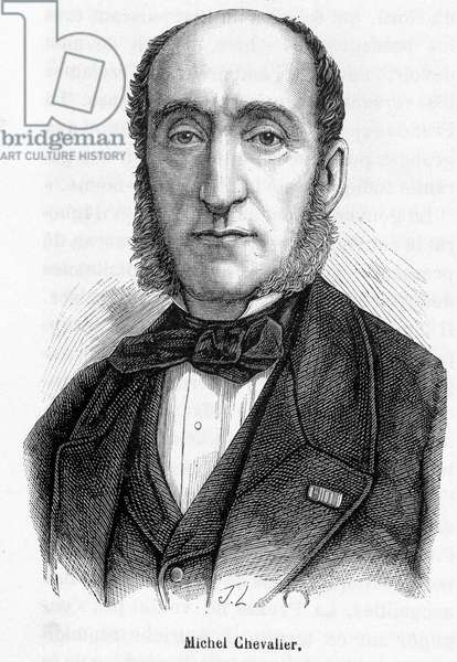 Portrait of Michel Chevalier (1806-1879) - engraving, 19th century