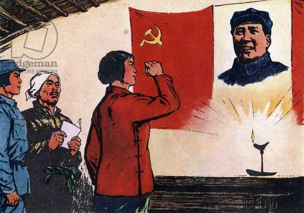 """Cultural revolution: """"Liu Hu Lan"""", a Chinese heroine, in 1947, at the age of 14, she died to protect her village. China, 1971."""