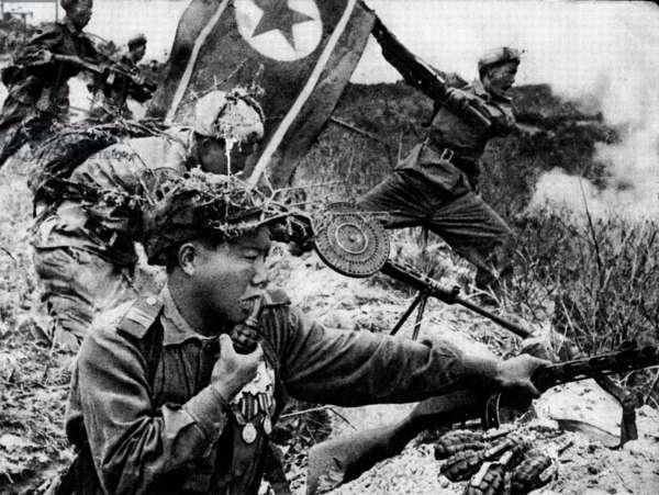 Korean War: offensive of the North Korean army, China, 1959 (b/w photo)