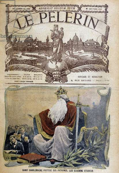 "Saint Charlemagne protects students in ""Le Pelerin"", 1901."