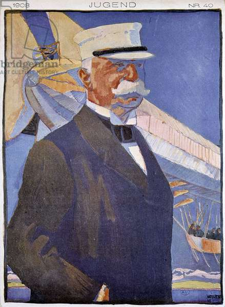"Portrait of Zeppelin in front of an airship - in """" Jugend"""", 1908"