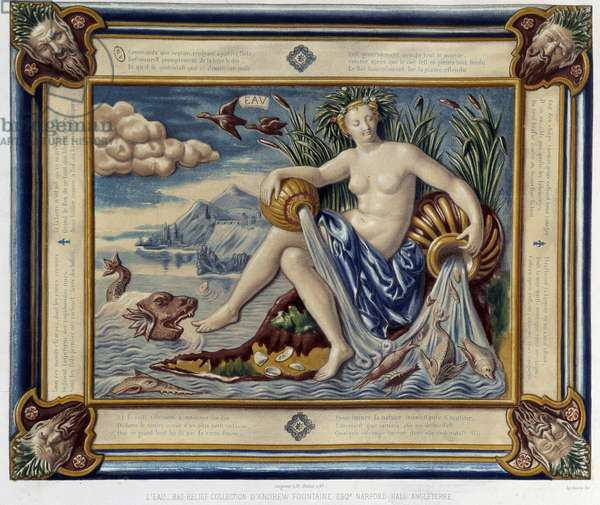 """L'eau (ou versseau) - Bas-relief, in """"The work of Bernard Palissy"""" by C. Delange and C. Borneman, Paris, 1869"""