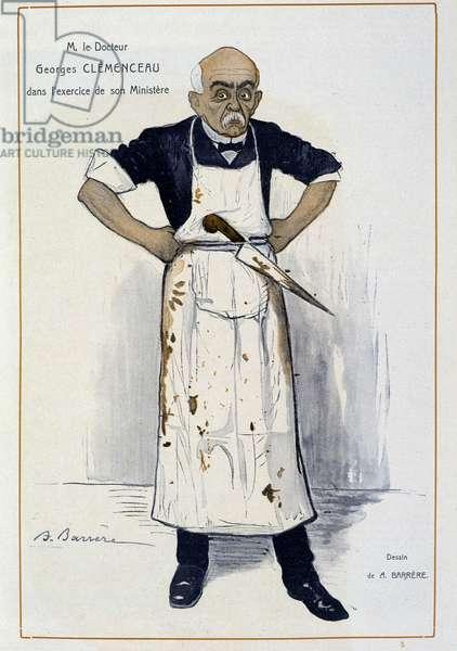 """Clémenceau en boucher - by Barrère, in """""""" Fantasio"""""""" from 01/10/1906"""