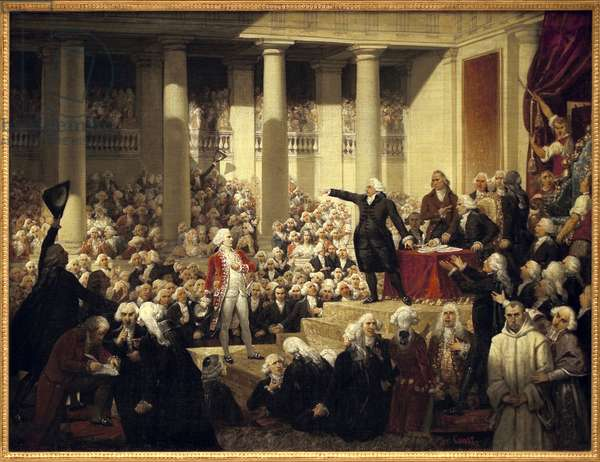 French Revolution: Honore Gabriel (Honore-Gabriel) Riqueti, Count of Mirabeau (1749-1791) before Monsieur de Henri Evrard (Henri-Evrard), Marquis of Dreux Breze (Dreux-Breze) (1762-1829) at the Assembly of Deputes, June 23, 1789 at Versailles during the General States. (Constituent Assembly of 1789) Painting by Joseph-Desire (Joseph Desire) Court (1797-1865) Rouen, Musee des Beaux-Arts.