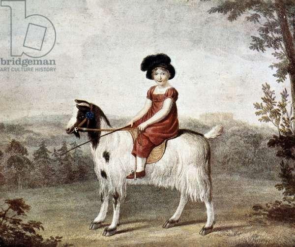 The castle baby: Reginald Henry Nevill (girl on a kid) - by R.W. Pickett, 1812