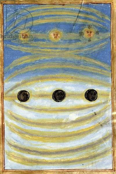 """Celestial signs seen on the day of the death of Anne de Bretagne, 1514 - in Bibliotheque municipale de Rennes, """""""" Commemoration et warning de la mort de Madame Anne, deux fois reyne de France, duchesse de Bretagne"""""""", Pierre Choque"""