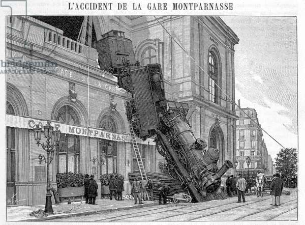 Railway Accident at the Gare Montparnasse, Place de Rennes, Paris, 22nd October 1895 (engraving)