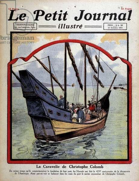 "Cover of the ""Little Journal"""" of 23/10/1921. ""The caravel of Christopher Columbus""""."