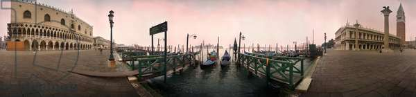 The gondolas in front of the ducal palace in Venice. Panoramic 360 degrees by Leonard de Selva, Italy, 1999.