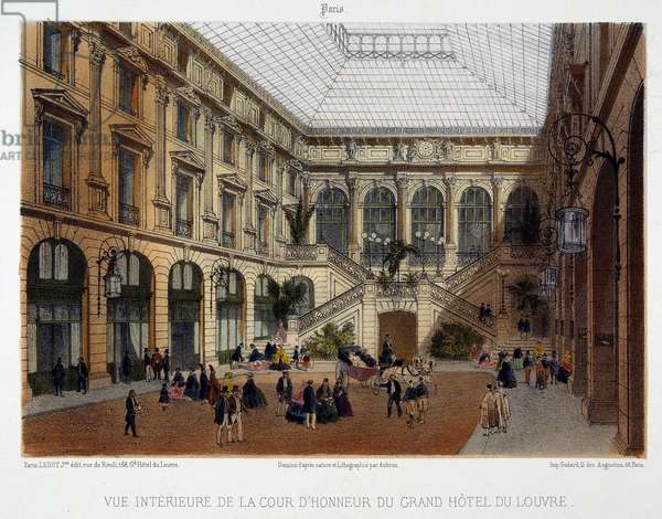 The courtyard of honour of the Grand Hôtel du Louvre, 19th century