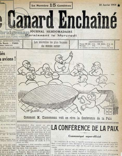 "How Mr Clemenceau sees the Peace Conference in a dream. In """" Le Canard Enchaine"""" on 21/1/1919. This conference will culminate in the Versailles Treaty."