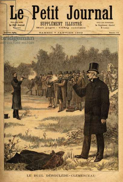 "The duel with the pistol (banned in France since 1626) between deputees Paul Deroulede (1846-1914) and Georges Clemenceau (1841-1929), no harm. Engraving in """" Le petit journal"""" 7/01/1893. Selva's collection."