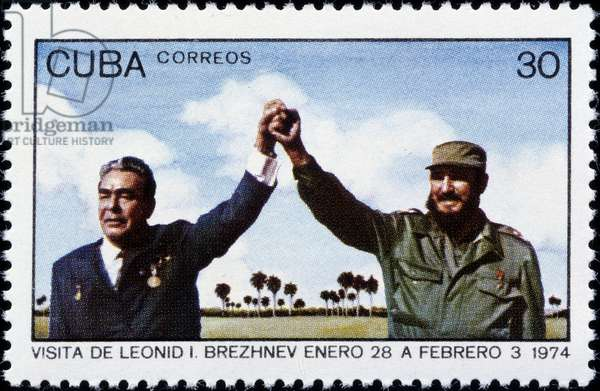 Cuban stamp commemorating the encounter between Fidel Castro and Leonid Brezhnev, 1974