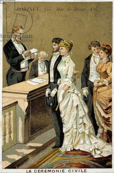 Marriage: civil ceremony, chromolithography, 20th century deb?
