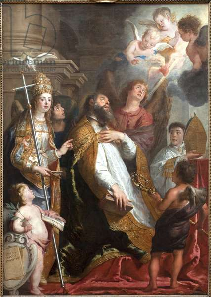 Saint Augustine of Hippo in ecstasy. The saint fainted looking at a heart wing on fire and surrounded by angels. On the left, the dove of the Holy Spirit (Holy Spirit). Painting by Gaspar de Crayer (1584-1669), Flemish art 17th century. Oil on canvas. Dim.: 2,9x1,9m. Museum of Fine Arts of Valenciennes.