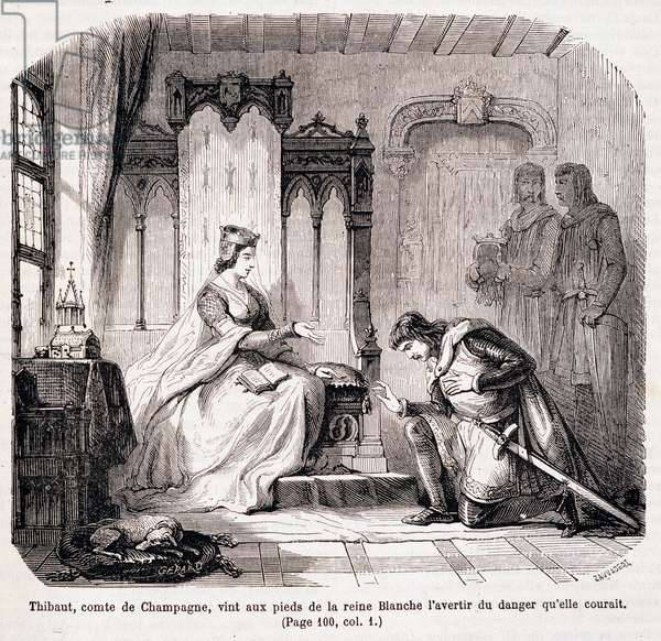 """Thibaut, Count of Champagne, came to the feet of Queen Blanche of Castile to warn her of the danger she was running - in """"Paris through the century"""" by de Genouillac, 1881"""