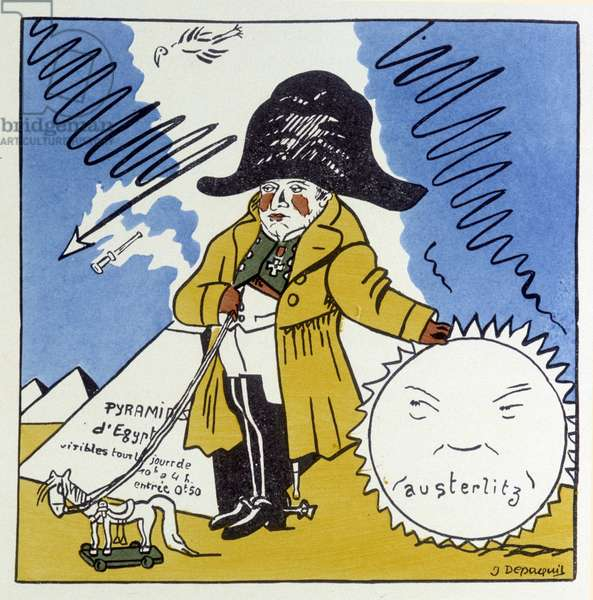 "Austerlitz, Jena, Wagram: Caricature sur Napoleon 1er - in """" Histoire de France"""" by Jules Depaquit, ill. by himself, ed. jonquières, Paris, 1928"