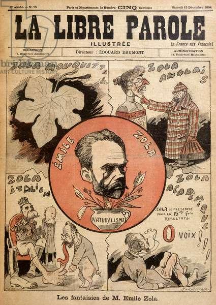 """Les fantaisies de Monsieur Emile Zola: caricature about Emile Zola in """"La libre parole"""""""". 15/12/1894."""