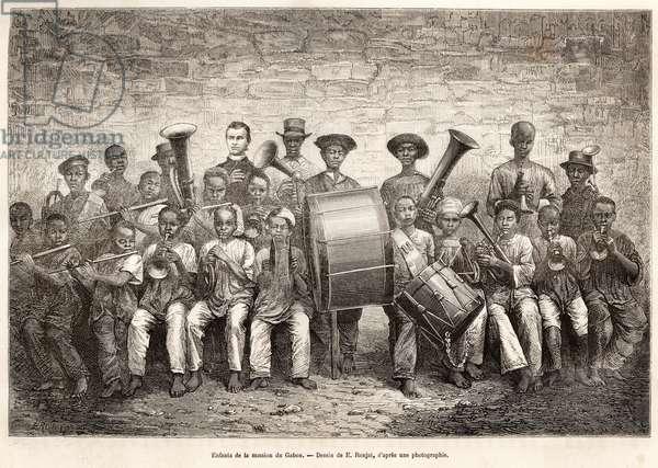 Children's Orchestra in Gabon, 1876 (litho)