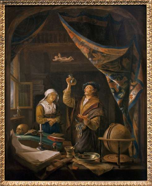 The doctor in urine. From a painting by Gerard Dow (1613-1675), oil on wood, 18th century copy, Flemish art. Museum of Fine Arts in Angers.