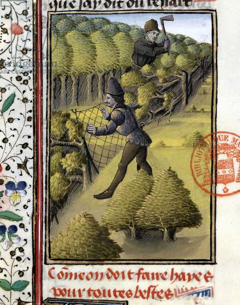 """Traps for all animals - in """""""" Hunting Book of Gaston Phoebus, Count of Foix, Lord of Bearn"""""""", 14th century"""