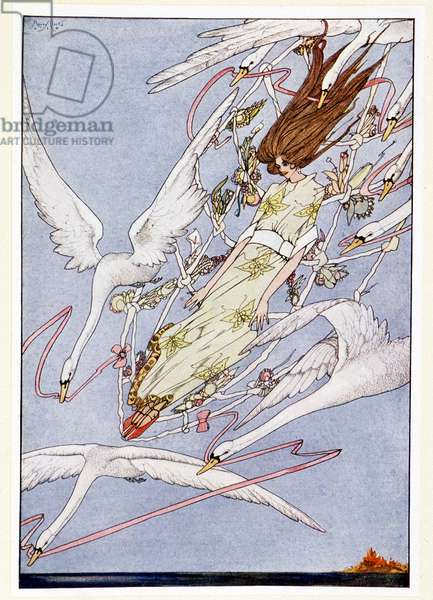 The whole day they flew onward through the air - The wild swans