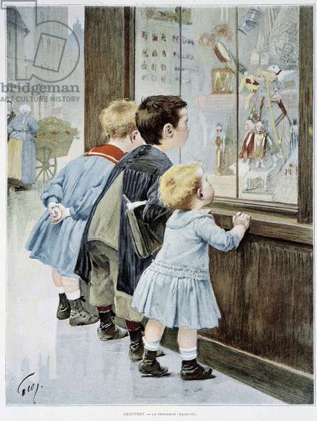 """La Temptation: Children in front of a showcase looking at toys - ill. by Geoffroy, in """""""" Figaro illustrated"""""""""""", 1901"""