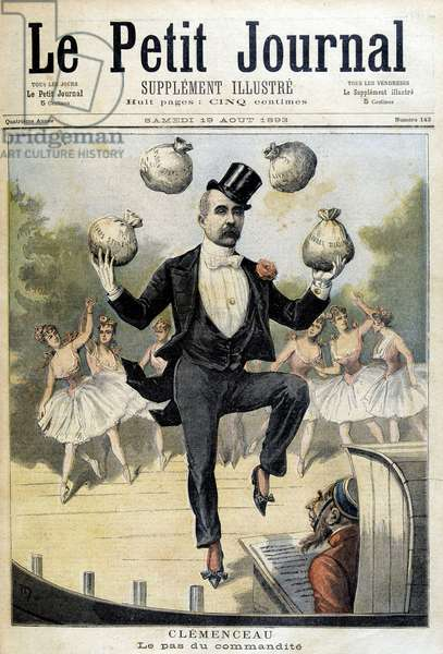 "Georges Clemenceau juggling with the Pounds Sterling - in """" Le Petite Journal"""" of 19/08/1893"