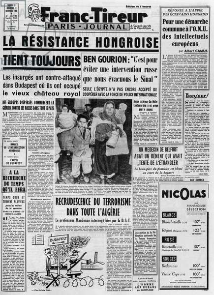 "The main page of the """" Stringer"""" of 10/11/1956: the Hungarian Resistance still holds - photograph."