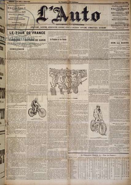 """Article on the arrival of the first round of France - in """""""" L'Auto"""""""" of 20/07/1903"""